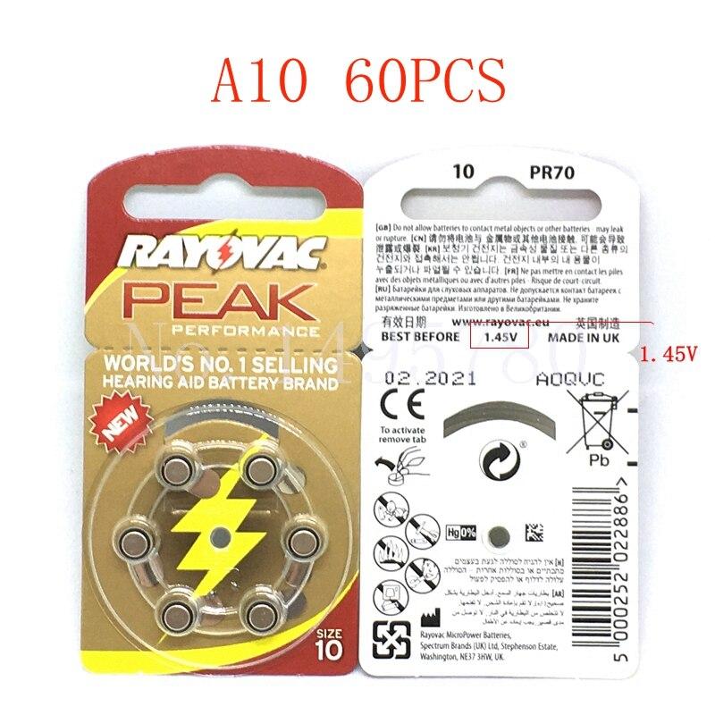 60 Pcs NEW Zinc Air 1.45V Rayovac Peak Zinc Air Hearing Aid Batteries A10 10A ZA10 10 S10 60 PCS Hearing Aid Batteries tmmo 1 5v aaa carbon zinc batteries 40 pcs
