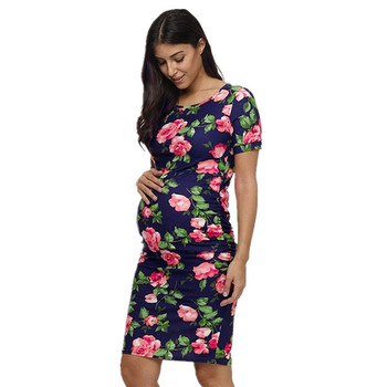 Maternity Clothes Summer Maternity Dresses Women Pregnant Maternity Floral Printed Short Sleeve Dress Women Sundress JE27#F Платье