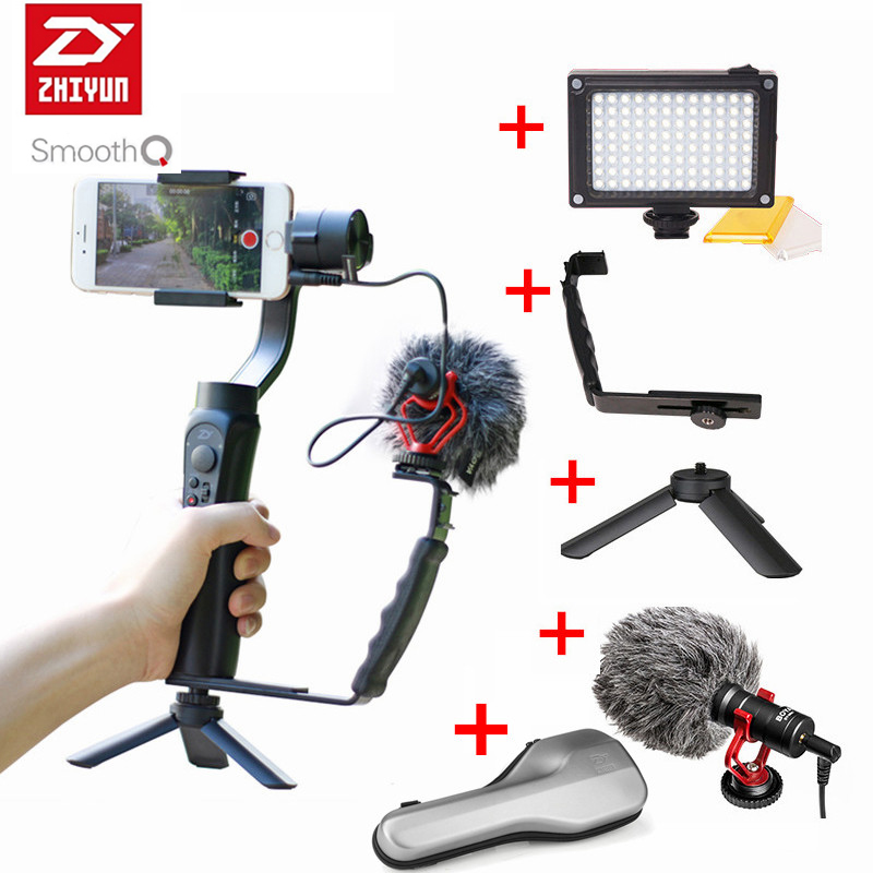 Zhiyun Smooth Q 3-Axis Gimbal Stabilizer with Boya BY-MM1 microphone Kit Vlogging following shoot for iPhone Gopro Hero 5 SJCAM good working high quality for lg washing machine computer board wd n10310d ebr61282428 ebr61282527 board