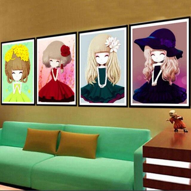 5d Diamond Drawing Flower Girl Cartoon Bedroom Living Room Crystal Round