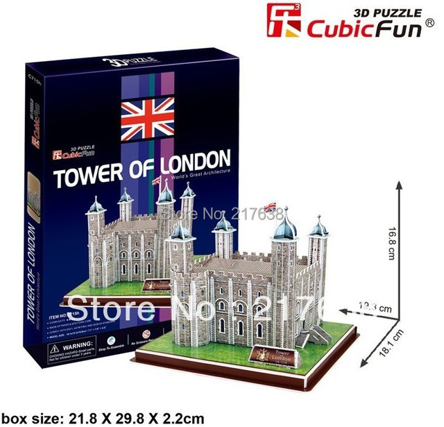 3D puzzle TOWER OF LONDON building model middle size ,  educational DIY toys, free shipping.