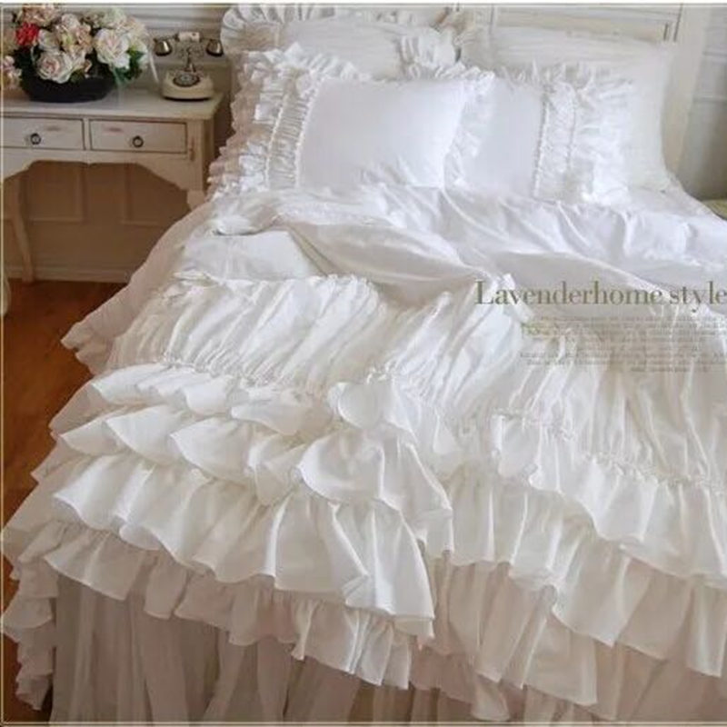 Quilted Romantic Ruffle bow bedding set European handmade duvet cover bedspread 2 layers lace yarn bed sheet wedding bedding
