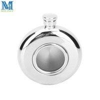 5Oz 145ML Pocket Flagon Transparent Visual Hip Flask Round Shape Man Dringking Flask Stainless Steel Liquor