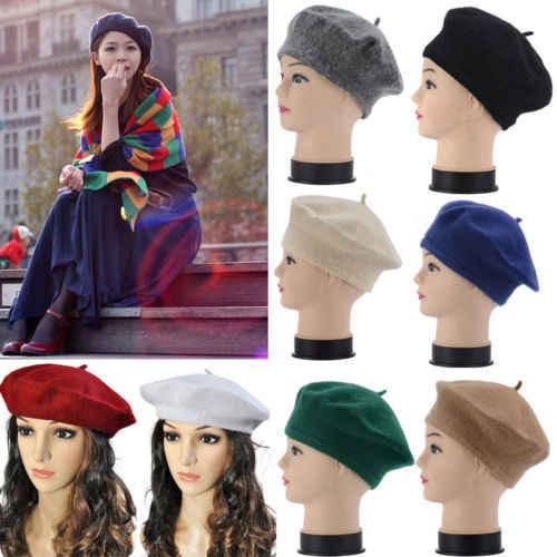 Новые модные женские хлопковые шерстяные береты для девочек, теплые зимние шапки, шерсть, французская шляпа берет, осенняя шапка, берет, верхняя одежда