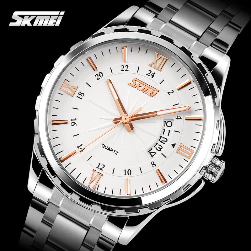 Prix pour SKMEI Marque De Mode Casual montre à quartz hommes marque de luxe militaire montres en acier plein hommes montre relogio masculino