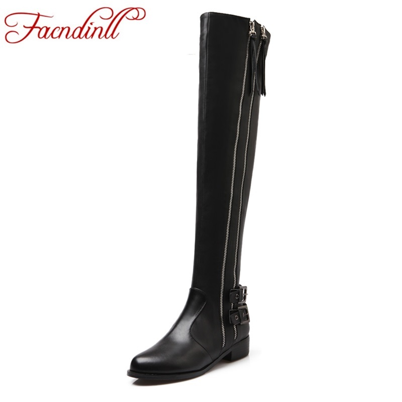 fashion woman knee high boots 2017 leather shoes long boots thick heels zip casual shoes women's winter boots black boots woman 2016 women knee high boots leather winter boots pointed toe zip casual shoes women high heels big size 32 45 black boots woman