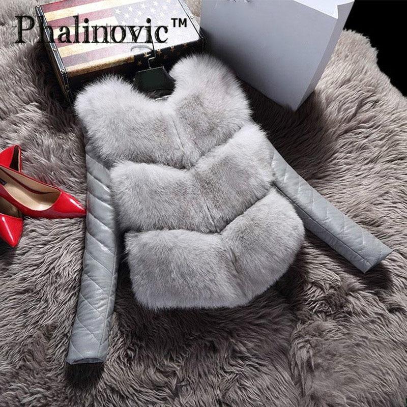 Phalinovic 2019 Modes rudens ziemas mētelis biezs silts sievietes mākslīgās lapsa kažokādas krūšturis augstvērtīgs jaka Colete Feminino Plus izmērs 3XL