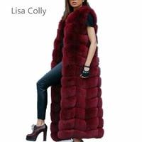 Lisa Colly Fashion Winter Super Long Fur Vest Women Luxury Faux Fox Fur Vest Furry Slim Woman Fake Fur Coat Jacket Long Outwear