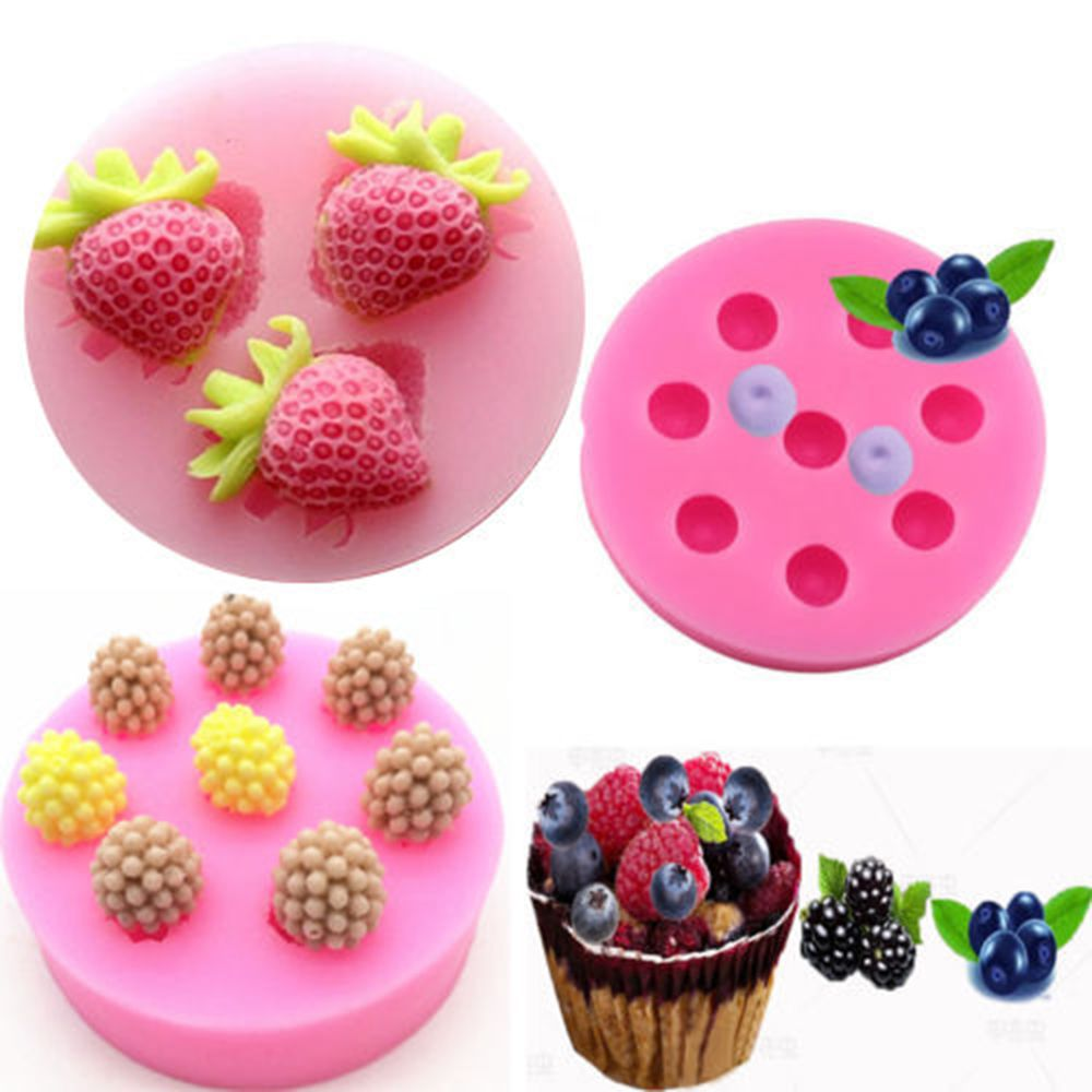 3D Sugarcraft Fruit Strawberry Silicone Mold Cake Decor Fondant Baking Mould