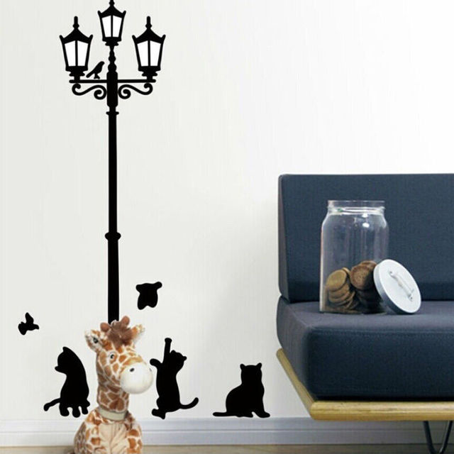 home decoration diy wall sticker cute ancient lamp cats and birds