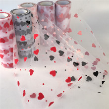 9.2m/roll Tulle Love Organza Sheer Gauze Element Table Runner Tissue Roll Spool Craft Party Wedding Christmas Decoration