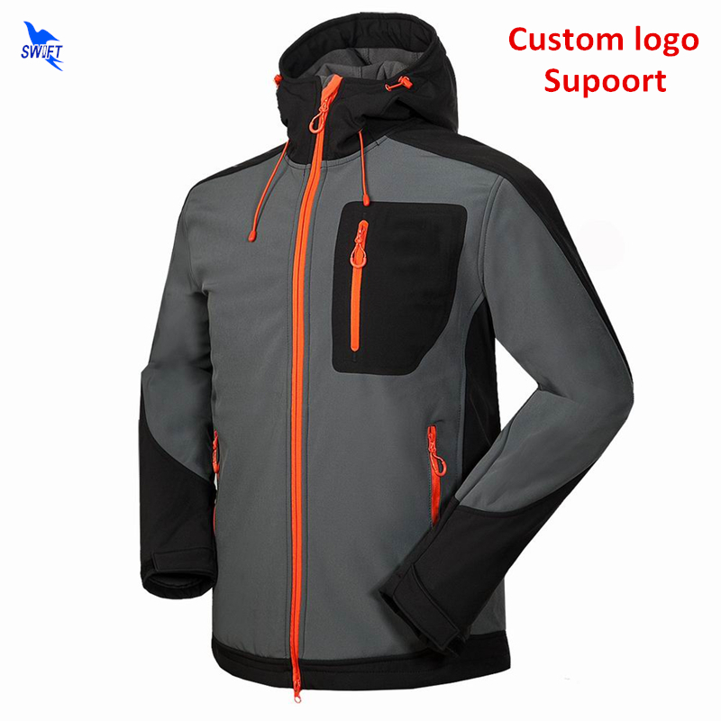 цена на Custom Thermal Fleece Waterproof Softshell Jacket Men Hooded 2018 Outdoor Climbing Hiking Clothing Ski Hunting Fishing Clothes