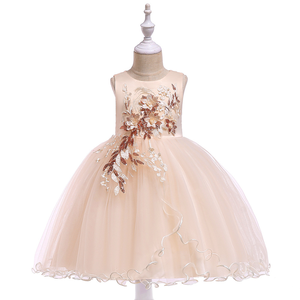 A-Line Sleeveless   Flower     Girl     Dresses   For Wedding Tulle Champagne First Communion   dresses   Children Gowns For Evening Party