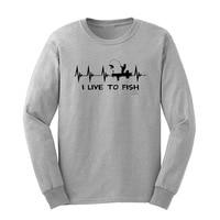 Loo Show Mens Fishinger Gift I Live to Fisher Heartbeat Heart Long Sleeve T Shirts Casual Men Tee
