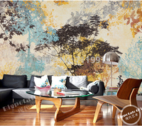 Modern Abstract Large Custom Murals Forest Trees Leaf Painting Wall Paper The Sitting Room The Bedroom