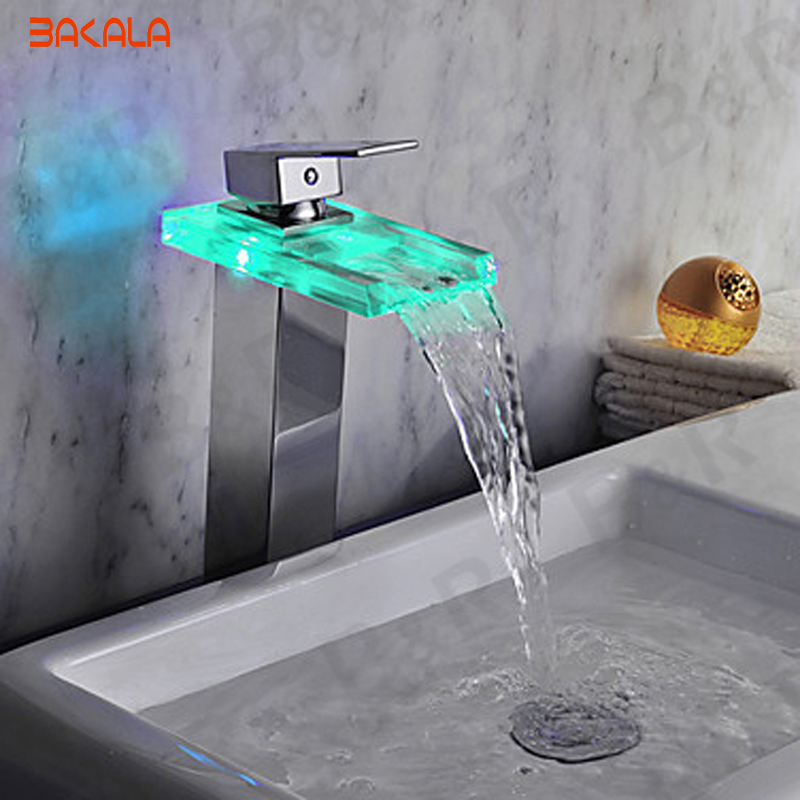 Glass sink faucet led color change waterfall  tap chrome led single lever bathroom led water faucet light  faucet  LH-8059-2 led waterfall faucet glass water tap crystal bathroom faucet handle