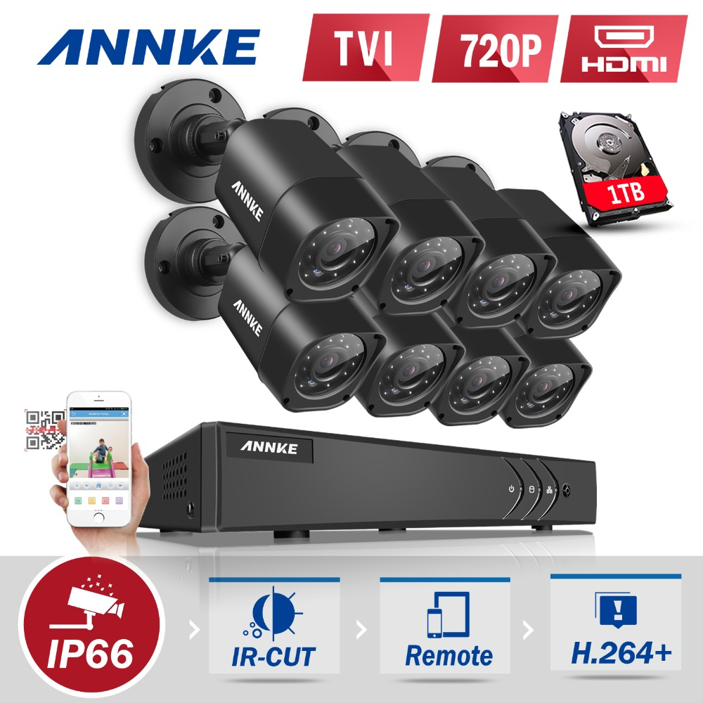 ANNKE 8CH 1080P HDMI CCTV System 8pcs 720P HD 1200TVL CCTV Security Cameras 1TB HDD Outdoor Waterproof Surveillance kit annke 8ch 720p 1500tvl cctv system 8pcs 720p ir outdoor security cameras 8ch 1080n 4in1 dvr kit cctv surveillance system