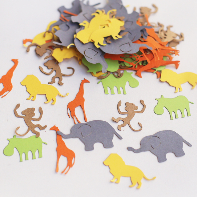 100 Pcs Assorted Jungle Animal Confetti Die Cut Animals Baby