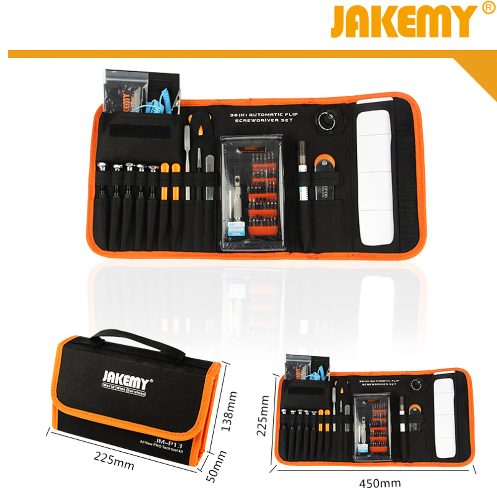 ФОТО JAKEMY JM-P13 Mobile Phone Repair Tools Set for iPhone Android Opening Tools Pentalobe 0.8 Screwdriver Spudger LCD Suction Cup