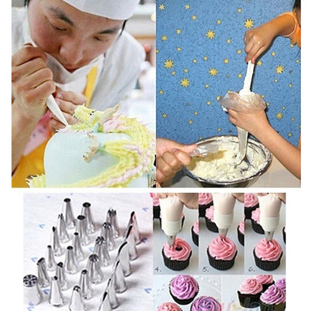 100PCS/bag Disposable Piping bag Icing Nozzle Fondant Cake Decorating Pastry Tips Tools Home Kitchen Cream Pastry Bag