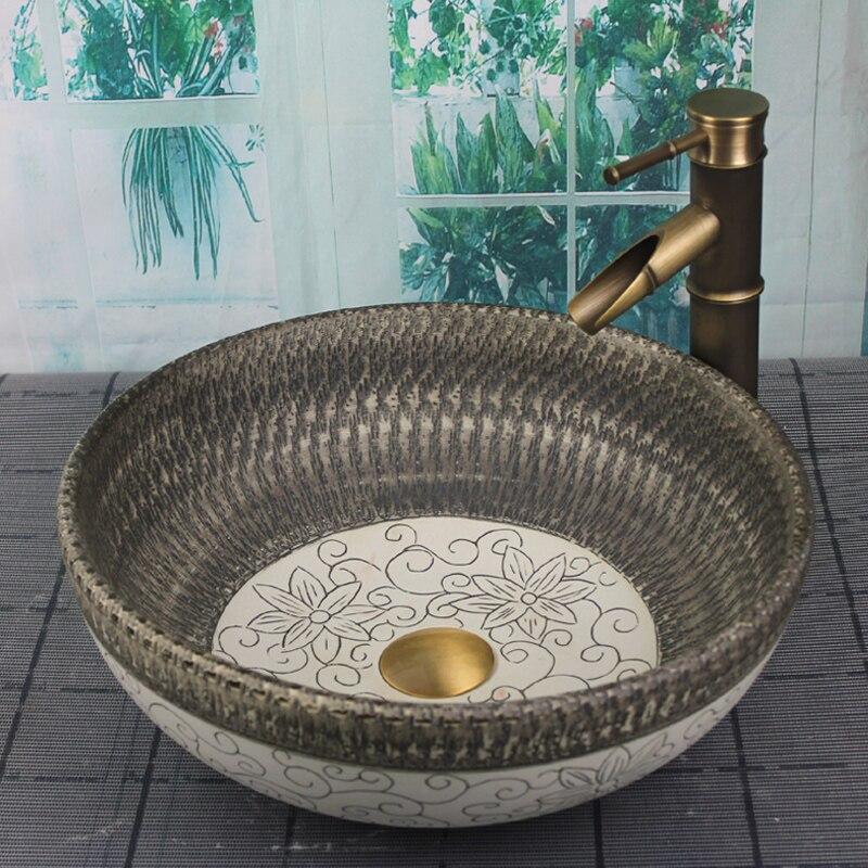 Rétro style porcelaine salle de bains évier main maded céramique lavabo