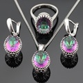 Silver Color Multicolor Rainbow Crystal Wedding Jewelry Sets For Women Drop Earrings/Necklace/Pendant/Ring Free Gift Box