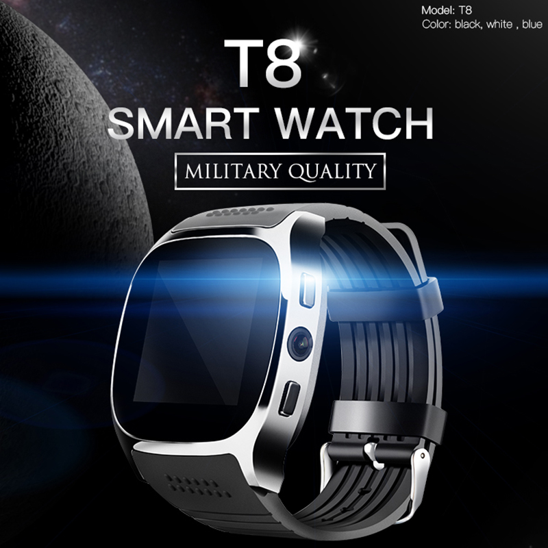 2018 T8 Bluetooth Smart Watch With Camera Music Player Facebook Whatsapp Sync SMS Smartwatch Support SIM TF Card For Android ETC цены в Москве 2017