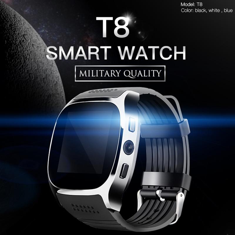2018 T8 Intelligente Orologio Bluetooth Con La Macchina Fotografica del Giocatore di Musica Facebook Whatsapp Sync SMS SIM carta di Tf di Sostegno Smartwatch Per Android ECC
