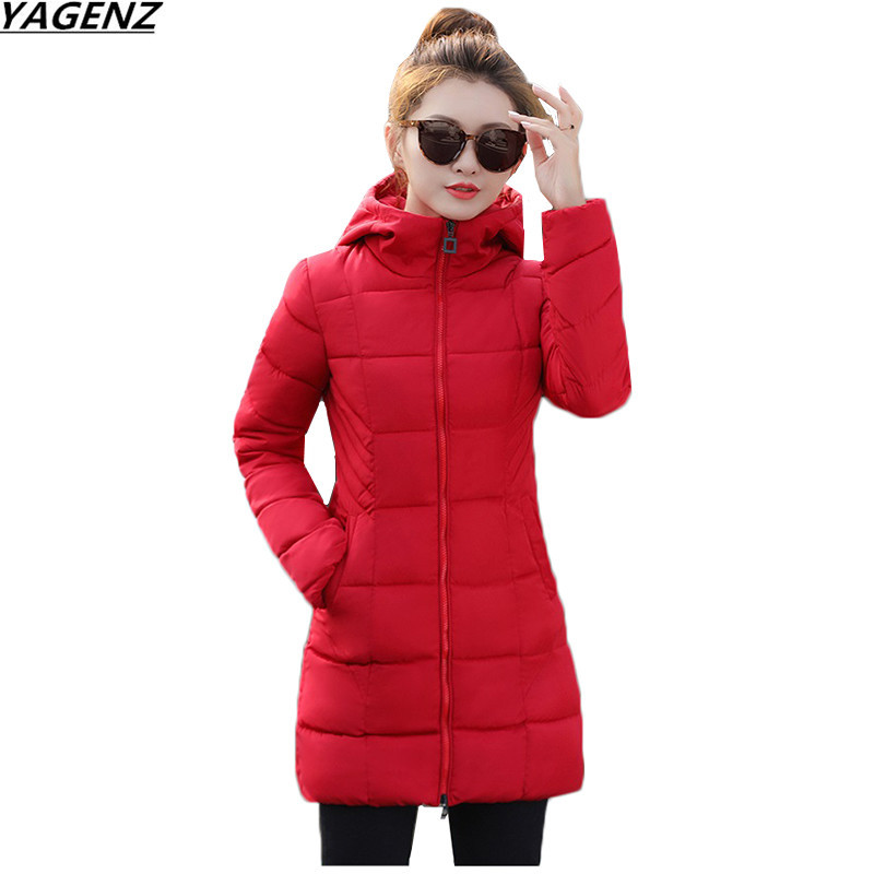 Women Winter Jacket New Hooded Medium Long Outwear Solid Color Large Size Warm Cotton-padded Clothes Parkas Female Basic Coats michael kors new women s size medium m solid brown raglan peasant blouse $49