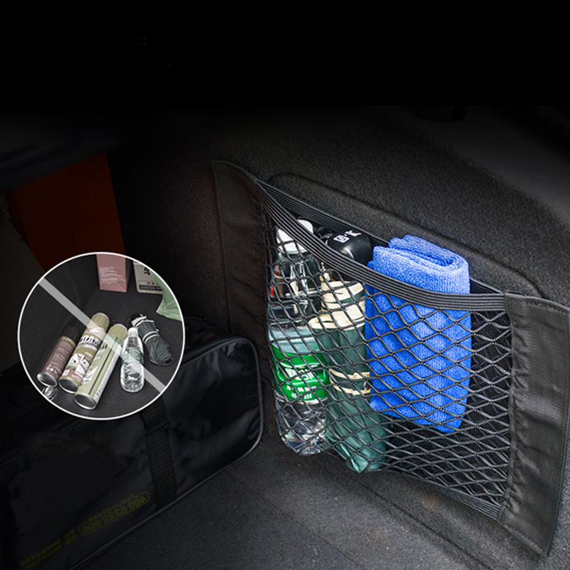 TOMALL Car Trunk Mesh Storage Net Wall Sticker Organizer Pouch Bag for Fire Extinguisher Repair Tool Cargo Pack of 2