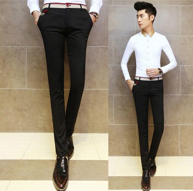 Nuevos Hombres Sexy Flaco Fit Tappered Elegantes Pantalones