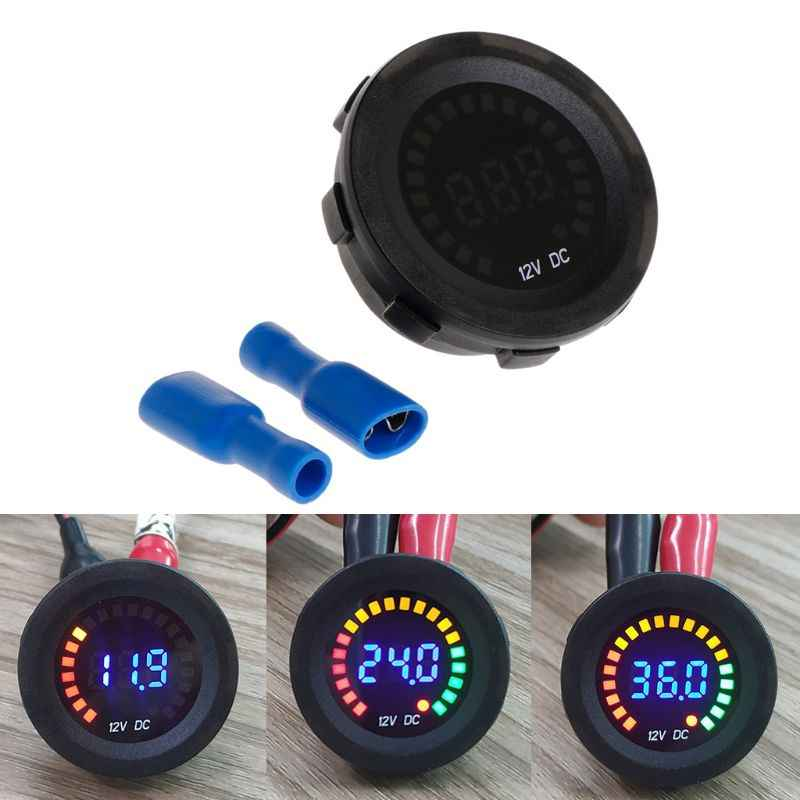 Car Motorcycle Waterproof Blue LED Digital Panel Display Voltmeter Voltage Volt Meter Gauge DC 12V