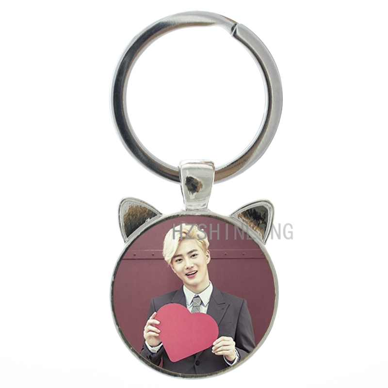 2016 New Suho <font><b>cat</b></font> ear pendant keychain Korean popular star singer Exo Suho key chain ring fans jewelry gifts handmade gift CN172