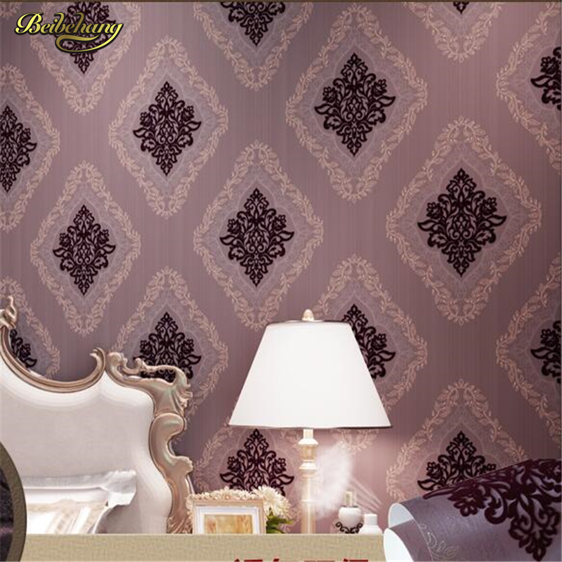beibehang papel de parede Flocking non - woven Damascus living room bedroom TV background wall paper wallpaper for walls 3 d modern minimalist striped glitter wall paper non woven wallpaper for living room sofa tv background wallcovering papel de parede