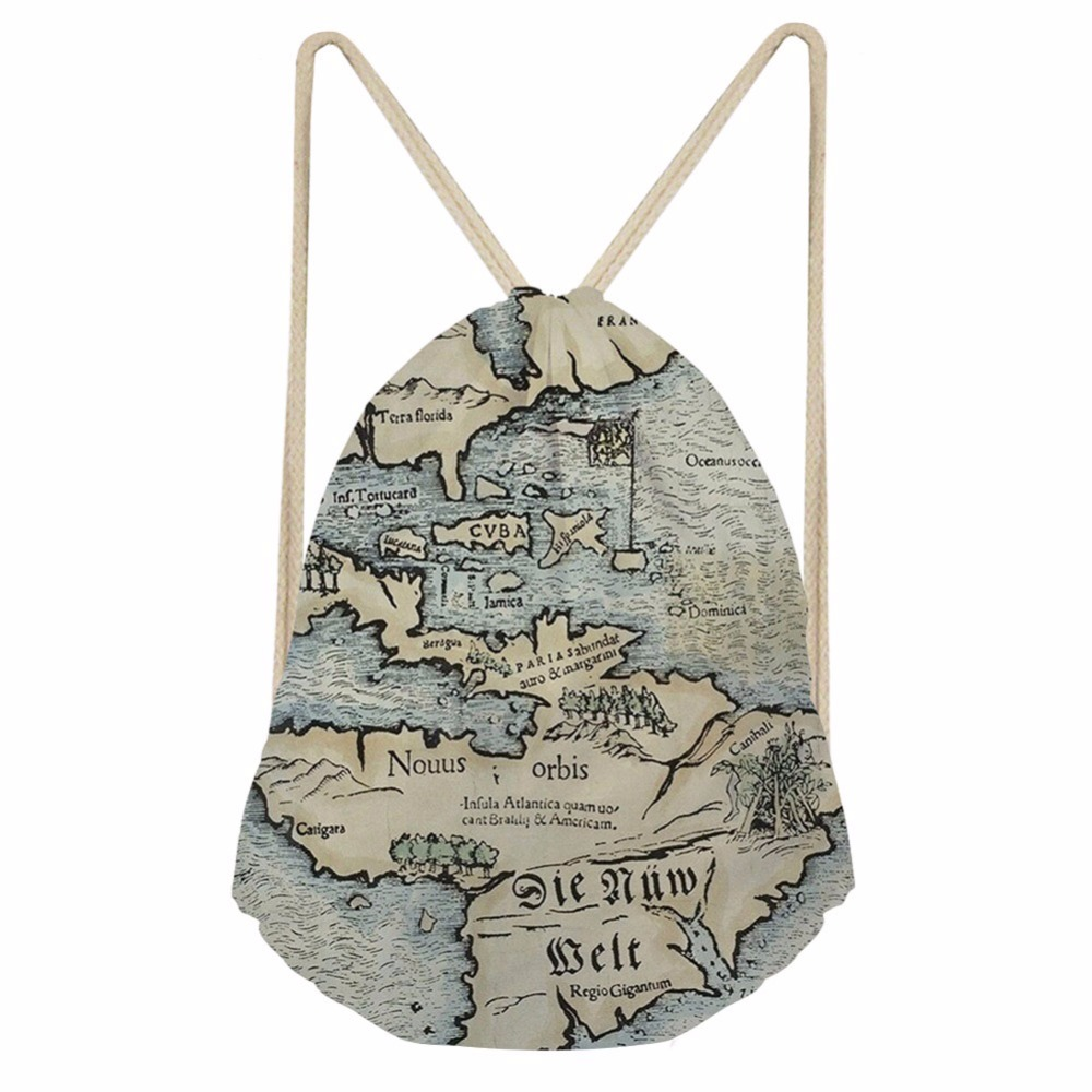 Noisydesigns Real World Map Newest Bear School Drawstring Bag Couple Lover Shoe Backpack Pocket String Storage Rucksack