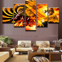 5 Pieces Modula Picture Animated Cartoon Characters Modern Home Wall Decor Canvas Picture Art HD For