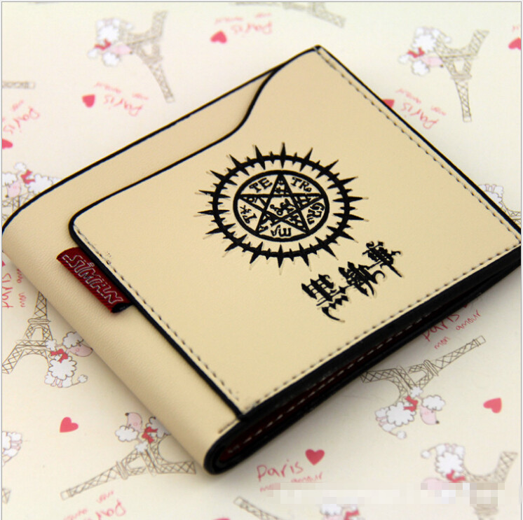 PU short wallet/purse Beige color simple design for Black butler Oddos eye sign