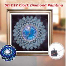 Berbentuk Khusus Diamond Bordir Mandala Bunga Jam Dinding 3D Diamond Lukisan Cross Stitch Watch Berlian Mosaik Dekorasi A128(China)