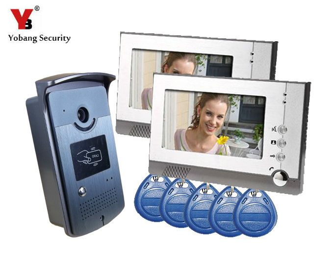 YobangSecurity 7 Inch Video Door Phone Doorbell Intercom Entry System Kit 2-Monitor 1-Camera Night Vision,Support RFID Card door intercom video cam doorbell door bell with 4 inch tft color monitor 1200tvl camera