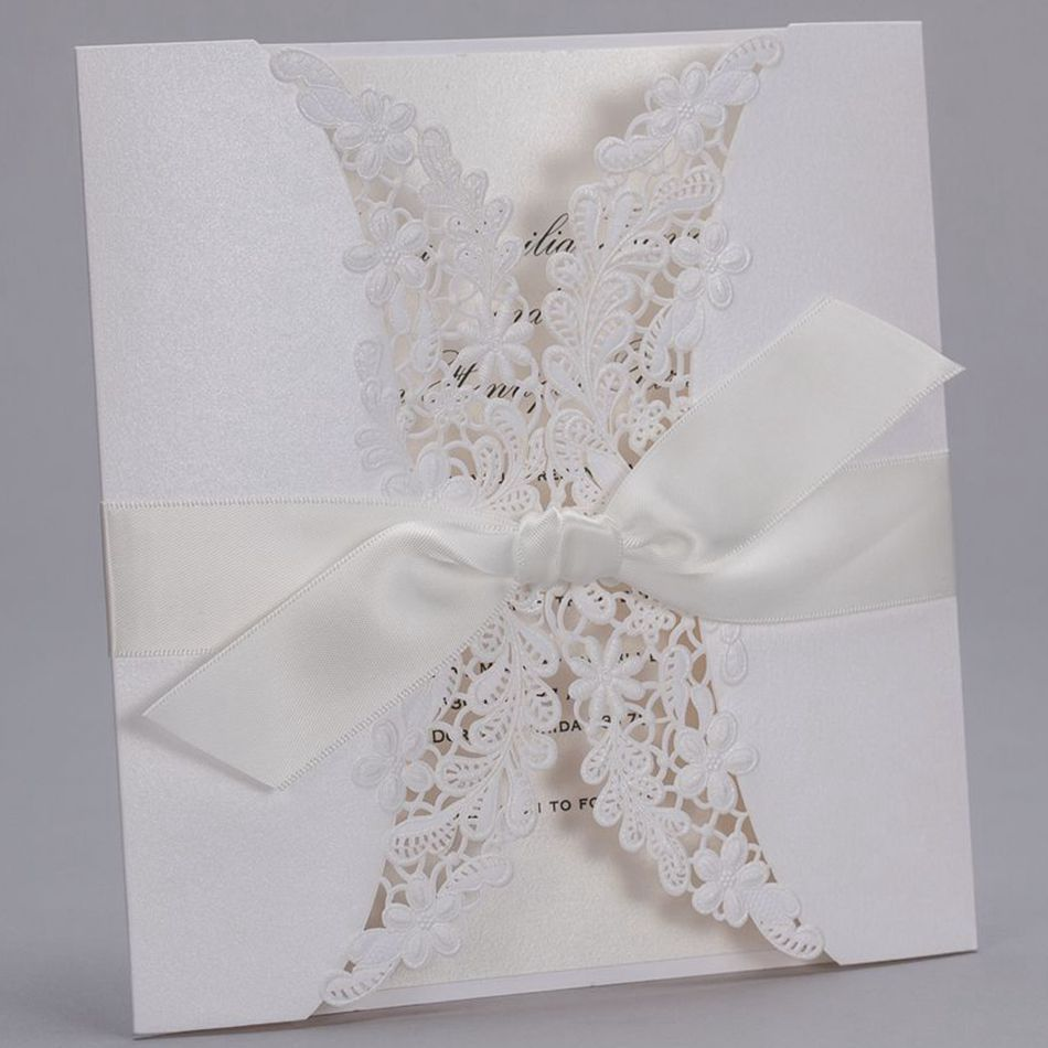 2015 Hot Sale Luxury White Embossed Paper Lace Wedding Invitations ...