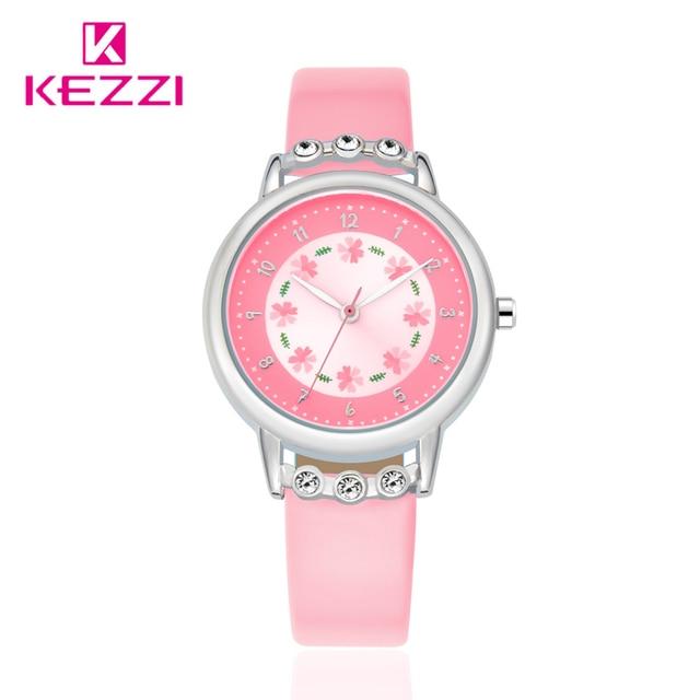 Kezzi Brand Children Kids Watches Casual Fashion Cute Flowers Students Watch PU