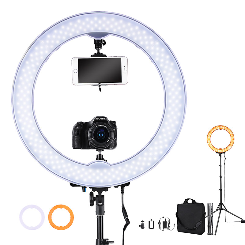 "Fosoto Camera Photo Studio Telefoon Video 18 ""55 W 5500K 240 LED Fotografie Dimbare Ring Light Lamp met batterij Slot & Tripod Stand-in Fotografieverlichting van Consumentenelektronica op  Groep 1"