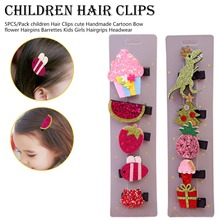 5 pcs Children Girls Lovely Star Animal  Hair Clips Hair Accessories Cute Kids Lace Flower Barrette Hairpins mini hat lace flower kids girls hair clips barrette style accessories for children hair hairclip ornaments hairpins head gifts