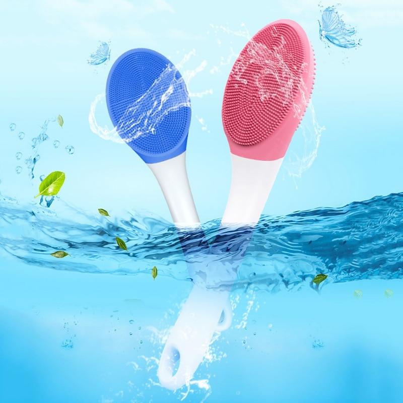 Silicone Shower Massage Brush Electric Back Glaze Brush Handle Sound Wave Soft Hair Bath Brush Waterproof Artifact Rechargeable