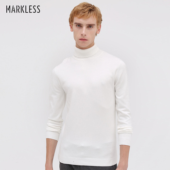Markless Turtleneck Pullover Sweaters Men 2018 Autumn Winter Slim Fit sueter hombre Thick Warm Knitted MSA8708M