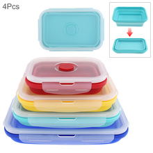 4pcs/set 350 / 500 / 800 / 1200 ML  Portable Picnic Camping Rectangle Collapsible Lunch Box Outdoor Box Silicone Sealing Plug