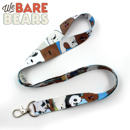 Cartoon We Bare Bears Grizzly/Panda/Ice Bear Satin Phone Rope Chain Strap Clip Cord Charm Lariat Lanyard Keychain Keyring Gift