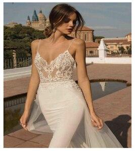 Image 2 - LORIE Beach Wedding Dresses Spaghetti Strap Mermaid Bride Dress  Backless Princess Long Wedding Gown Boho Bride Dress 2019