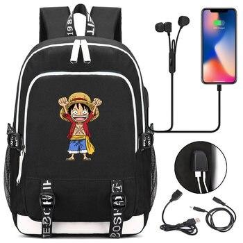 Mochila Con Una Correa | Anime Una Pieza USB Portátil Mochila Bolsas Cosplay Luyyf Helicóptero De Dibujos Animados De Los Niños De Los Adolescentes De Hombro Bolsas De Viaje Bolsa De La Escuela