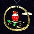 """Designer handmade """"beijar o Sapo"""" colar 925 sterling silver little bird on a ramos pingente banhado a ouro jóias mulheres"""